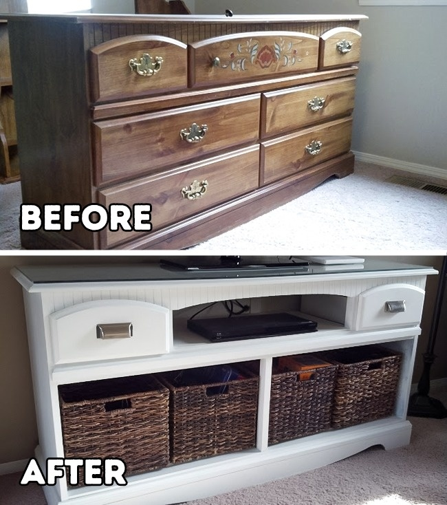 cara merubah rak lama menjadi rak TV cantik