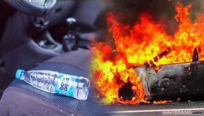 Mobil kebakaran akibat botol air minum